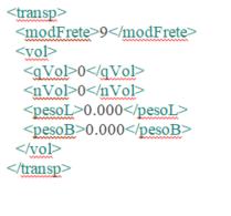 Representação xml Dados da transportadora e transporte
