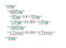 Representação xml Dados do pagamento