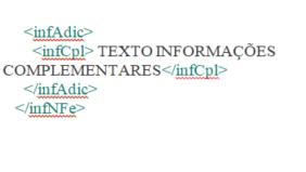 Representação xml Informações Adicionais