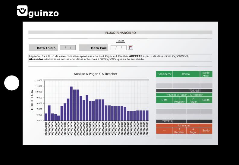 Tela Fluxo Financeiro Sistema Guinzo