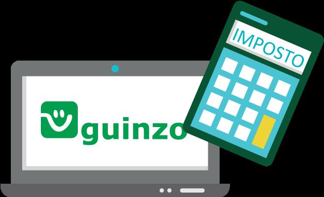 Notebook com Logo do Guinzo e uma calculadora de Impostos