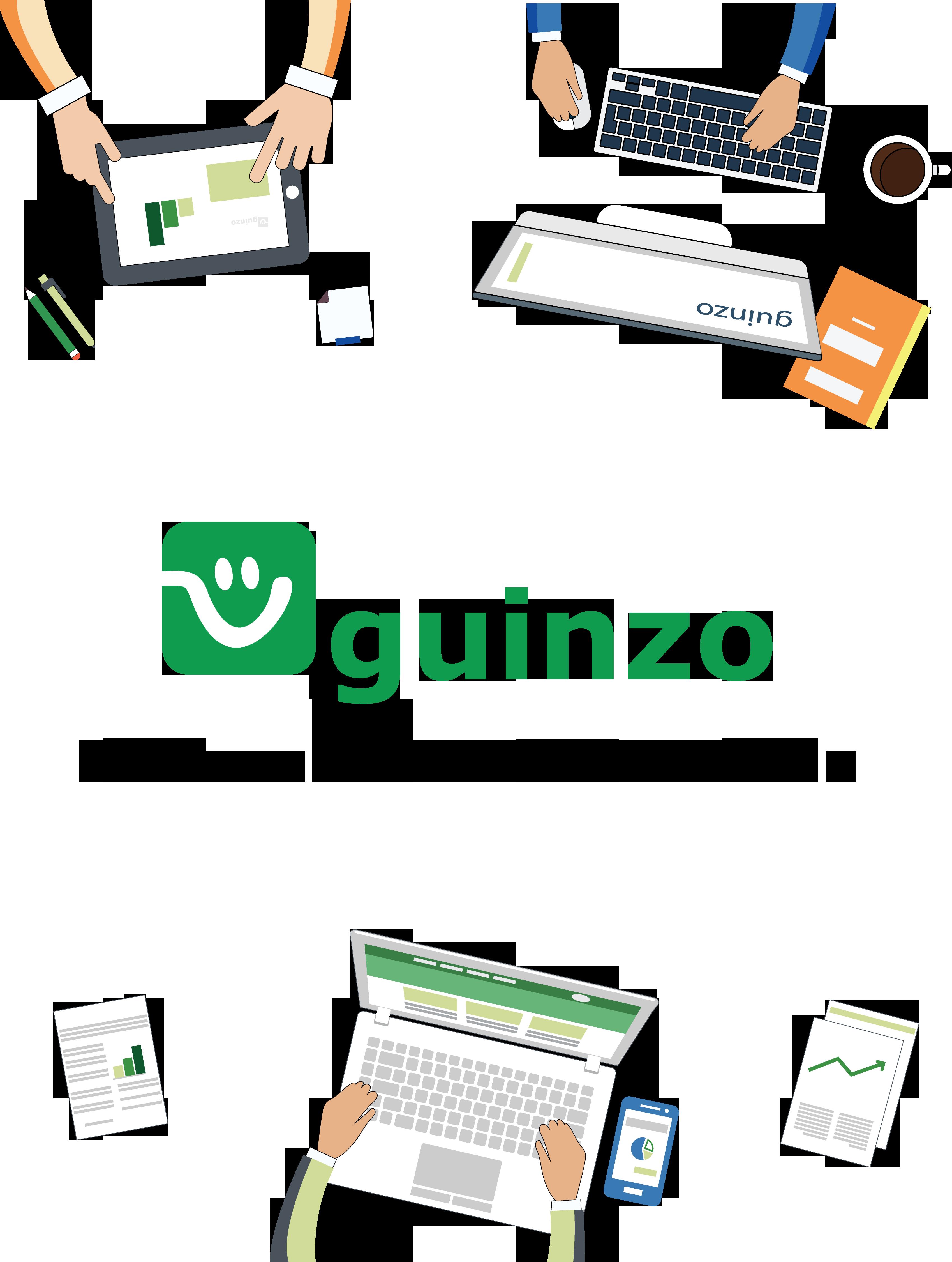 Tela Inicial Guinzo com representação de computadores com telas com os sistemas