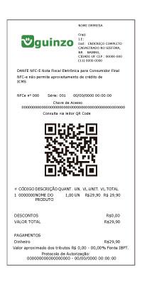 Representação de uma NFCe